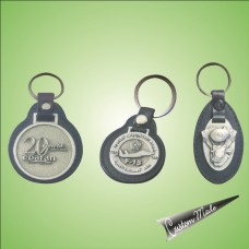 Keychain - Leather with Pewter Motif